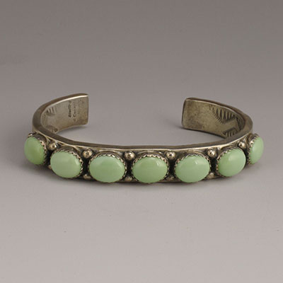 Will Denetdale Navajo silver and pale green variscite cabochon cuff