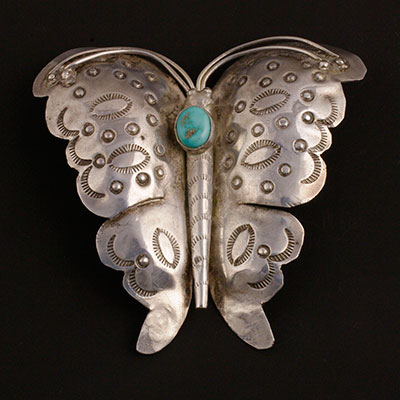 Vintage Navajo Silver butterfly with turquoise