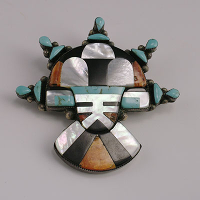 Vintage Zuni Mosaic Inlay Pin with Tabletta inlaind with turquoise, mother of pearl, spiney oyster and onyx