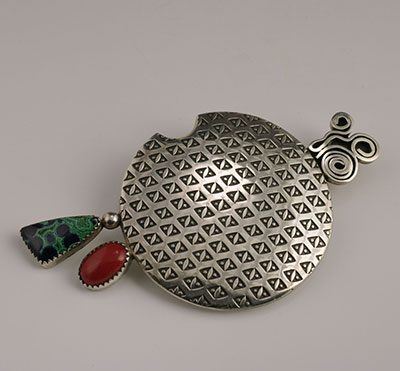 Norbert Peshlakai Navajo SIlver Stamped Pin Brooch with Green Malachite and Red Coral Cabochons