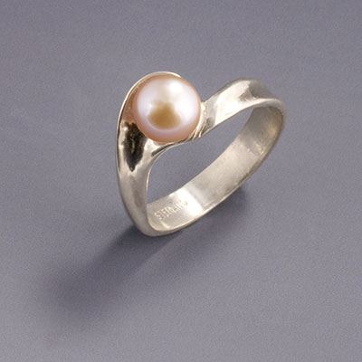 silver breaking wave ring with pink pearl