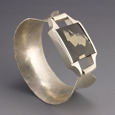 hammered sterling Silver Bangle with slate & pyrite stone