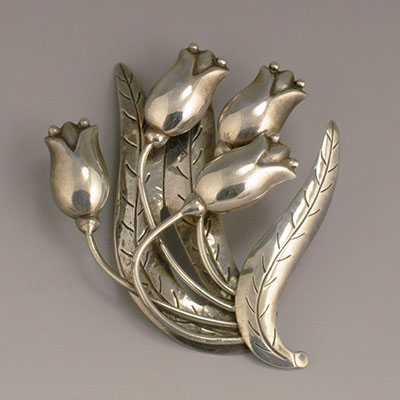 Hector Aguilar large Silver Tulips Pin