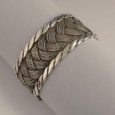 Hector Aguilar silver woven cuff